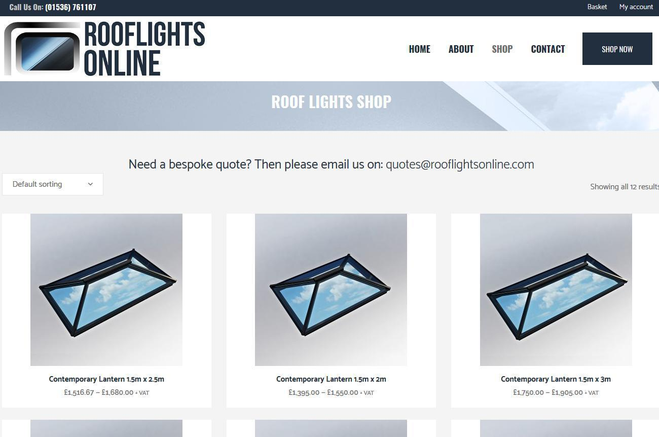 Ecommerce Website Design Roof Lights